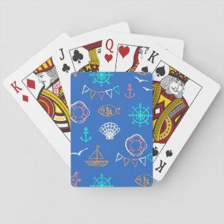 Nautical Chalk Drawing Pattern 1 Playing Cards