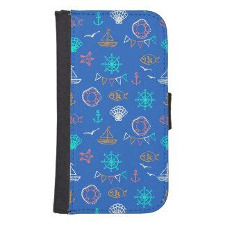 Nautical Chalk Drawing Pattern 1 Samsung S4 Wallet Case
