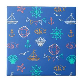 Nautical Chalk Drawing Pattern 1 Tile