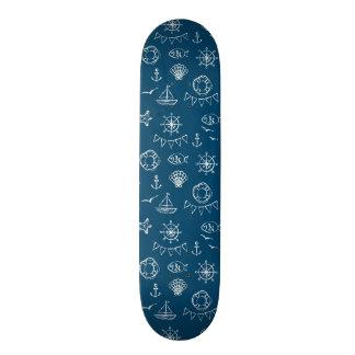 Nautical Chalk Drawing Pattern 2 20 Cm Skateboard Deck