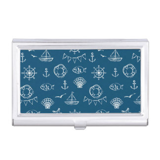 Nautical Chalk Drawing Pattern 2 Business Card Holder
