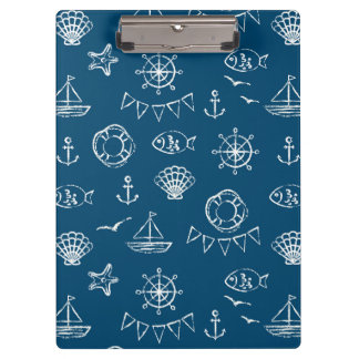Nautical Chalk Drawing Pattern 2 Clipboards