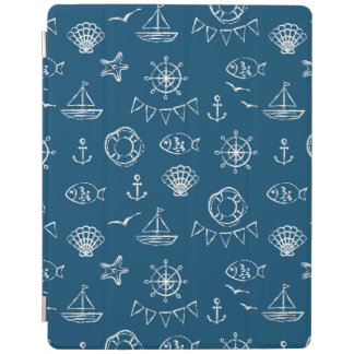 Nautical Chalk Drawing Pattern 2 iPad Cover