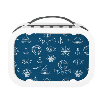 Nautical Chalk Drawing Pattern 2 Lunchboxes