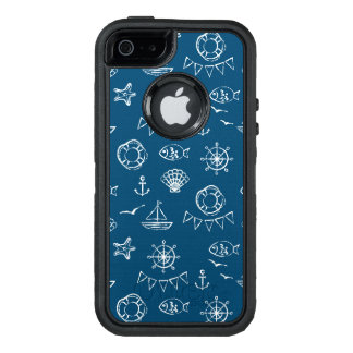 Nautical Chalk Drawing Pattern 2 OtterBox Defender iPhone Case