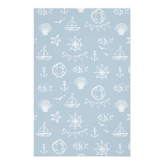 Nautical Chalk Drawing Pattern 2 Stationery Design