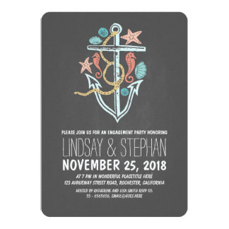 "Nautical chalkboard beach engagement party invites 5"" x 7"" invitation card"