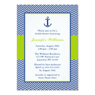 Nautical Chevron Anchor Blue Green Bridal Shower 13 Cm X 18 Cm Invitation Card