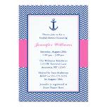 Nautical Chevron Anchor Blue Pink Bridal Shower 13 Cm X 18 Cm Invitation Card