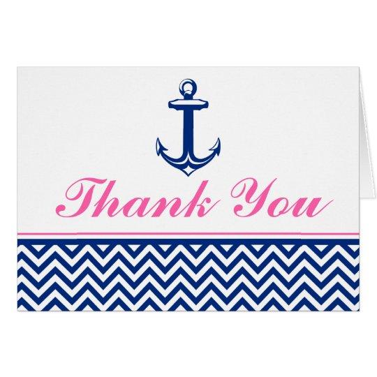 Nautical Chevron Anchor Blue Pink Thank You Card