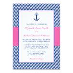 Nautical Chevron Anchor Blue Pink Wedding Announcement