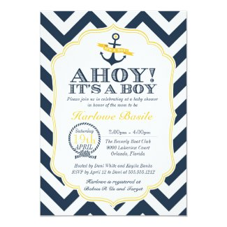Nautical Chevron Baby Boy Shower Invitation
