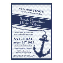 Nautical chevron navy blue wedding invitation 13 cm x 18 cm invitation card
