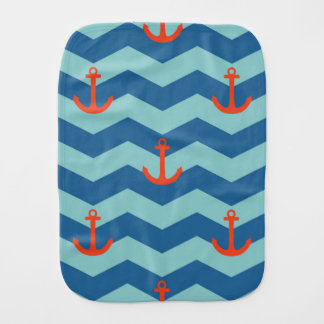 Nautical Chevron Pattern Burp Cloth