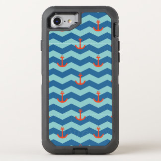 Nautical Chevron Pattern OtterBox Defender iPhone 8/7 Case