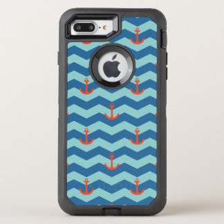 Nautical Chevron Pattern OtterBox Defender iPhone 8 Plus/7 Plus Case