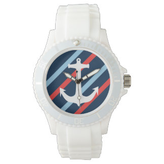 Nautical chic anchor navy blue red stripes wristwatches