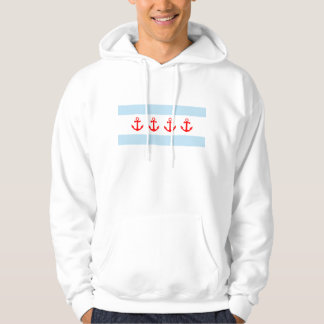 Nautical Chicago Flag Anchors Hoodie