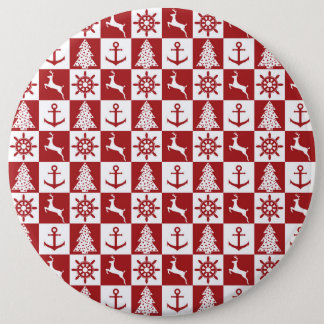 Nautical christmas 6 cm round badge