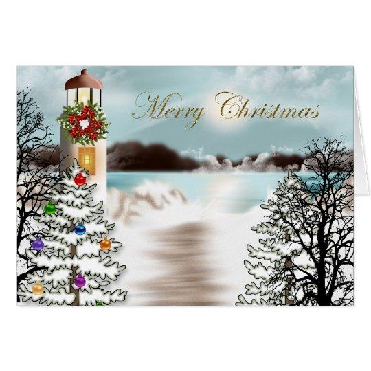 Nautical Christmas Card with Lighthouse