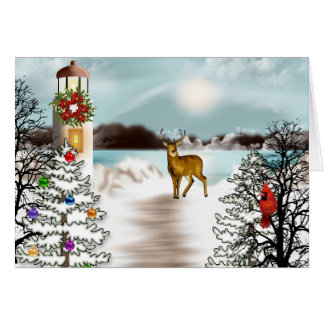 Nautical Christmas Card with Lighthouse