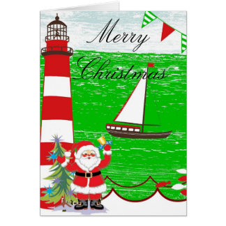 Nautical Christmas Card with Santa