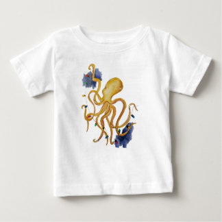 Nautical Christmas Octopus with string fairy light Baby T-Shirt