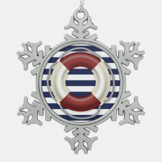 Nautical Christmas Ornaments Pewter Lifesaver