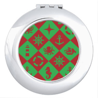 Nautical christmas pattern travel mirrors