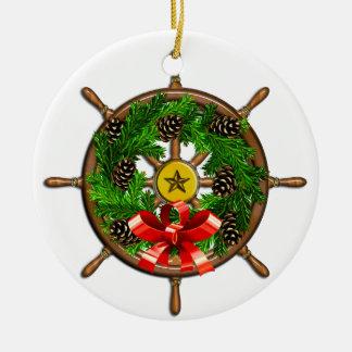 Nautical Christmas Ships Wheel Christmas Ornament