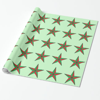 Nautical Christmas Stars on Pale Green Wrapping Paper