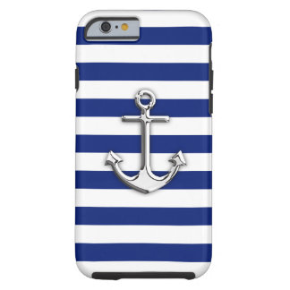 Nautical Chrome Anchor on Navy Stripes Tough iPhone 6 Case