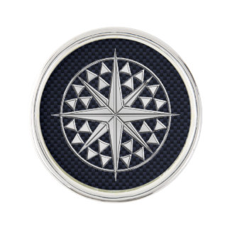 Nautical Chrome Compass Star on Carbon Fiber Print Lapel Pin