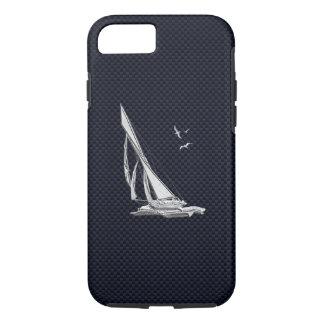 Nautical Chrome Sail Boat on Carbon Fiber Print iPhone 7 Case