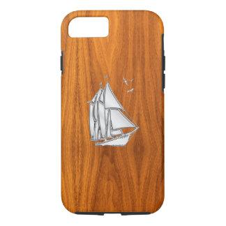 Nautical Chrome Sail Boat on Teak Wood Print iPhone 7 Case