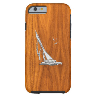Nautical Chrome Sail Boat on Teak Wood Print Tough iPhone 6 Case