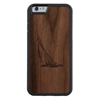 Nautical Chrome Sail Boat Print Carved Walnut iPhone 6 Bumper Case