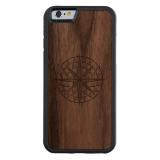 Nautical Chrome Star Compass Print Carved® Walnut iPhone 6 Bumper Case