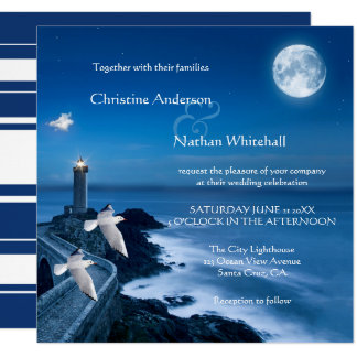 Nautical Coastal Lighthouse Wedding Invitation