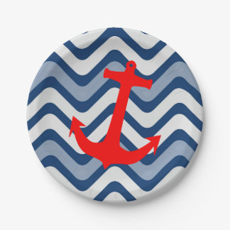Nautical coastal ocean sea anchor paper plates
