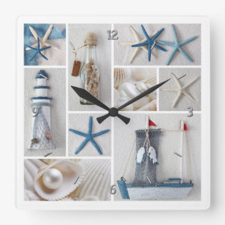Nautical Collage Square Wall Clock
