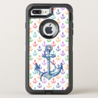 Nautical Colorful Boat Anchors Pattern OtterBox Defender iPhone 8 Plus/7 Plus Case