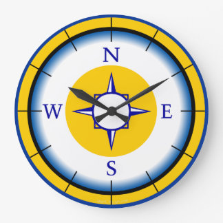 Nautical Compas Blue, White, Gold Wall Clock
