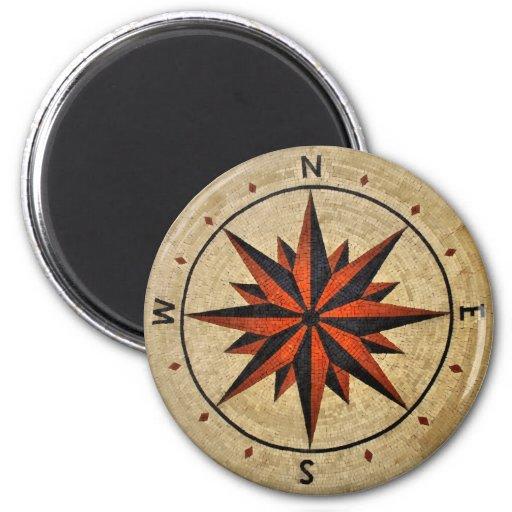 Nautical Compass Mosaic Decor Refrigerator Magnet
