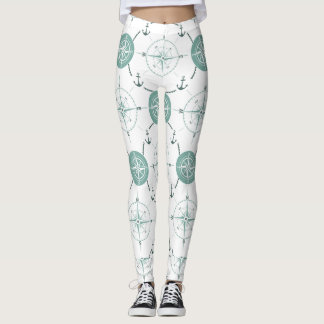 Nautical compass moss green white ocean leggings