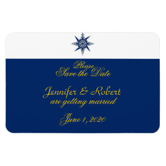 Nautical Compass Navy Yellow Wedding Save the Date Rectangle Magnet
