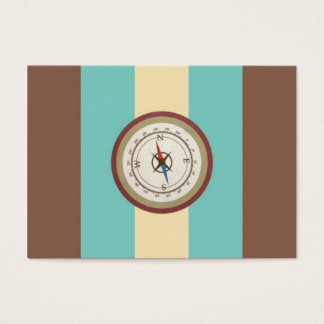 Nautical Compass On Vintage Retro Blue Cream Brown Business Card