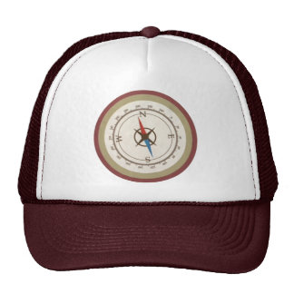 Nautical Compass On Vintage Retro Blue Cream Brown Cap