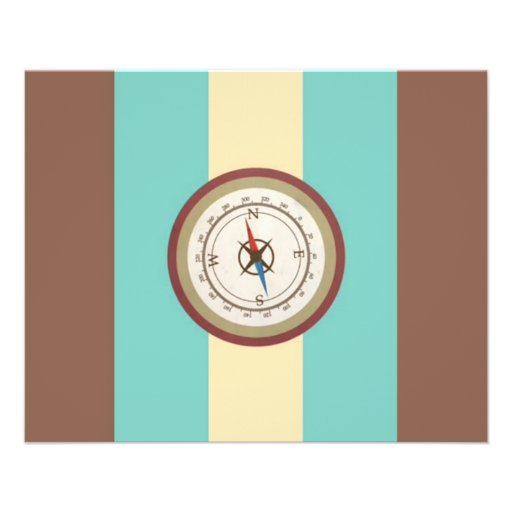 Nautical Compass On Vintage Retro Blue Cream Brown Full Color Flyer