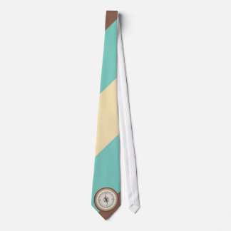Nautical Compass On Vintage Retro Blue Cream Brown Tie